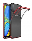 Eiroo Radiant Samsung Galaxy A7 2018 Kırmızı Kenarlı Şeffaf Silikon Kılıf