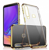 Eiroo Radiant Samsung Galaxy A9 2018 Gold Kenarlı Şeffaf Rubber Kılıf