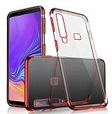 Eiroo Radiant Samsung Galaxy A9 2018 Kırmızı Kenarlı Şeffaf Rubber Kılıf