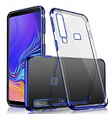 Eiroo Radiant Samsung Galaxy A9 2018 Lacivert Kenarlı Şeffaf Rubber Kılıf