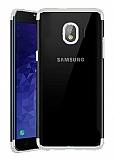 Eiroo Radiant Samsung Galaxy J4 Silver Kenarlı Şeffaf Silikon Kılıf