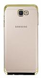 Eiroo Radiant Samsung Galaxy J4 Plus Gold Kenarlı Şeffaf Rubber Kılıf