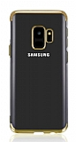 Eiroo Radiant Samsung Galaxy J6 Gold Kenarlı Şeffaf Silikon Kılıf