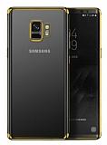Eiroo Radiant Samsung Galaxy J6 Plus Gold Kenarlı Şeffaf Silikon Kılıf