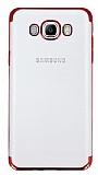 Eiroo Radiant Samsung Galaxy J7 2016 Kırmızı Kenarlı Şeffaf Rubber Kılıf