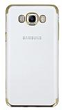 Eiroo Radiant Samsung Galaxy J7 2016 Gold Kenarlı Şeffaf Rubber Kılıf