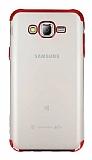 Eiroo Radiant Samsung Galaxy J7 Kırmızı Kenarlı Şeffaf Rubber Kılıf