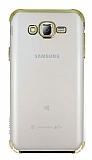 Eiroo Radiant Samsung Galaxy J7 Gold Kenarlı Şeffaf Rubber Kılıf