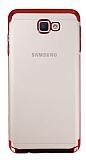 Eiroo Radiant Samsung Galaxy J7 Prime Kırmızı Kenarlı Şeffaf Rubber Kılıf