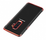 Eiroo Radiant Samsung Galaxy J8 Kırmızı Kenarlı Şeffaf Silikon Kılıf