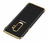 Eiroo Radiant Samsung Galaxy J8 Gold Kenarlı Şeffaf Silikon Kılıf