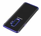 Eiroo Radiant Samsung Galaxy J8 Lacivert Kenarlı Şeffaf Silikon Kılıf