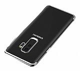 Eiroo Radiant Samsung Galaxy J8 Silver Kenarlı Şeffaf Silikon Kılıf