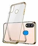 Eiroo Radiant Samsung Galaxy M20 Gold Kenarlı Şeffaf Rubber Kılıf