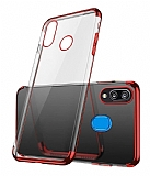 Eiroo Radiant Samsung Galaxy M20 Kırmızı Kenarlı Şeffaf Rubber Kılıf