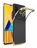 Eiroo Radiant Samsung Galaxy M31 Gold Kenarlı Şeffaf Silikon Kılıf
