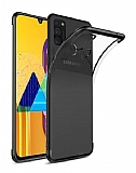 Eiroo Radiant Samsung Galaxy M31 Siyah Kenarlı Şeffaf Silikon Kılıf