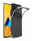 Eiroo Radiant Samsung Galaxy M31 Silver Kenarlı Şeffaf Silikon Kılıf