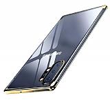 Eiroo Radiant Samsung Galaxy Note 10 Plus Gold Kenarlı Şeffaf Silikon Kılıf