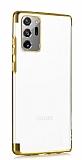 Eiroo Radiant Samsung Galaxy Note 20 Ultra Gold Kenarlı Şeffaf Silikon Kılıf