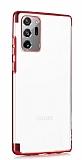 Eiroo Radiant Samsung Galaxy Note 20 Ultra Kırmızı Kenarlı Şeffaf Silikon Kılıf