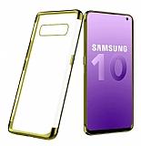 Eiroo Radiant Samsung Galaxy S10 Gold Kenarlı Şeffaf Rubber Kılıf