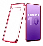 Eiroo Radiant Samsung Galaxy S10 Kırmızı Kenarlı Şeffaf Silikon Kılıf