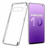 Eiroo Radiant Samsung Galaxy S10 Silver Kenarlı Şeffaf Silikon Kılıf