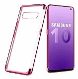 Eiroo Radiant Samsung Galaxy S10 Rose Gold Kenarlı Şeffaf Rubber Kılıf