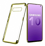 Eiroo Radiant Samsung Galaxy S10e Gold Kenarlı Şeffaf Silikon Kılıf
