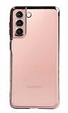Eiroo Radiant Samsung Galaxy S21 Plus Rose Gold Kenarlı Şeffaf Silikon Kılıf