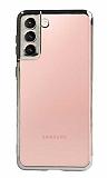 Eiroo Radiant Samsung Galaxy S21 Plus Gri Kenarlı Şeffaf Silikon Kılıf