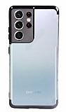 Eiroo Radiant Samsung Galaxy S21 Ultra Siyah Kenarlı Şeffaf Silikon Kılıf