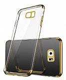 Eiroo Radiant Samsung Galaxy S7 Edge Gold Kenarlı Şeffaf Rubber Kılıf