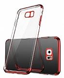 Eiroo Radiant Samsung Galaxy S7 Edge Kırmızı Kenarlı Şeffaf Rubber Kılıf