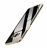 Eiroo Radiant Samsung Galaxy S8 Gold Kenarlı Şeffaf Silikon Kılıf