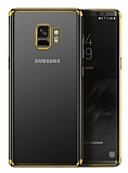 Eiroo Radiant Samsung Galaxy S9 Gold Kenarlı Şeffaf Rubber Kılıf