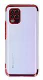 Eiroo Electro Xiaomi Mi 10 Lite Kırmızı Kenarlı Şeffaf Silikon Kılıf
