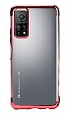 Eiroo Radiant Xiaomi Mi 10T Pro Kırmızı Kenarlı Şeffaf Silikon Kılıf