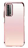 Eiroo Radiant Huawei P smart 2021 Kırmızı Kenarlı Şeffaf Silikon Kılıf