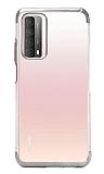 Eiroo Radiant Huawei P smart 2021 Silver Kenarlı Şeffaf Silikon Kılıf