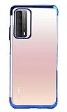 Eiroo Radiant Huawei P smart 2021 Mavi Kenarlı Şeffaf Silikon Kılıf