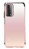 Eiroo Radiant Huawei P smart 2021 Rose Gold Kenarlı Şeffaf Silikon Kılıf