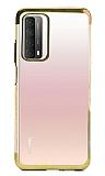 Eiroo Radiant Huawei P smart 2021 Gold Kenarlı Şeffaf Silikon Kılıf
