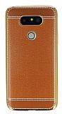 LG G5 Dikiş İzli Kahverengi Silikon Kılıf