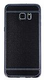 Eiroo Retro Look Samsung Galaxy S7 Edge Siyah Silikon K�l�f