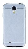 Samsung i9500 Galaxy S4 Dikiş İzli Silver Silikon Kılıf