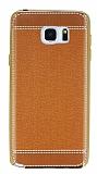 Eiroo Retro Look Samsung Galaxy Note 5 Kahverengi Silikon K�l�f