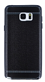 Eiroo Retro Look Samsung Galaxy Note 5 Siyah Silikon K�l�f