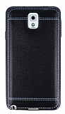 Eiroo Retro Look Samsung N9000 Galaxy Note 3 Siyah Silikon Kılıf